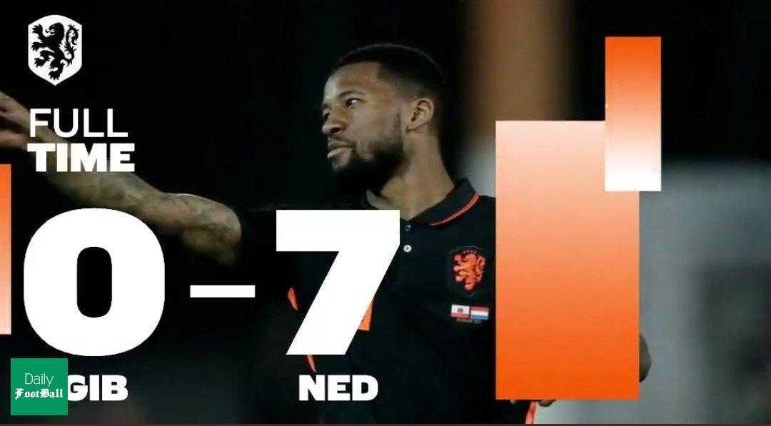 نتیجه بازی هلند و جبل الطارق| پیروزی پرگل هلند