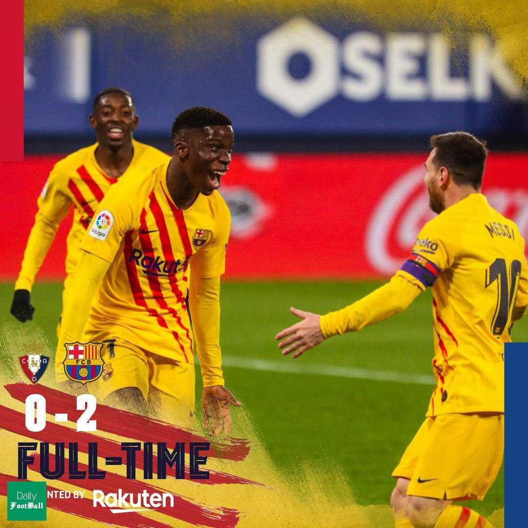 نتیجه بازی بارسلونا و اوساسونا| پیروزی بارسا در خانه اوساسونا