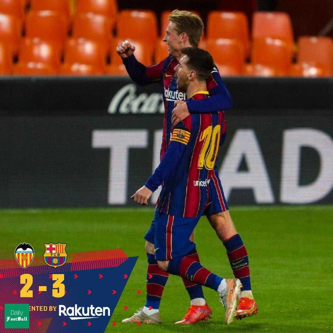 نتیجه بازی بارسلونا و والنسیا: بارسا در کورس قهرمانی ماند