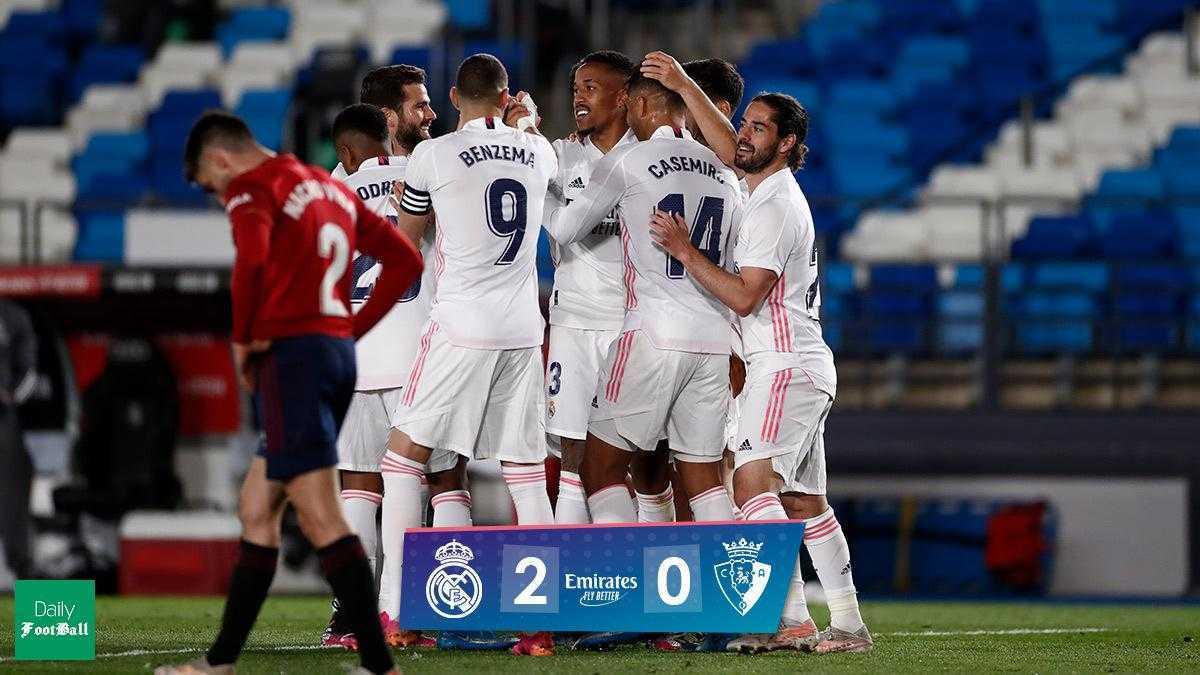 نتیجه بازی رئال مادرید و اوساسونا: پیروزی خانگی کهکشانی ها
